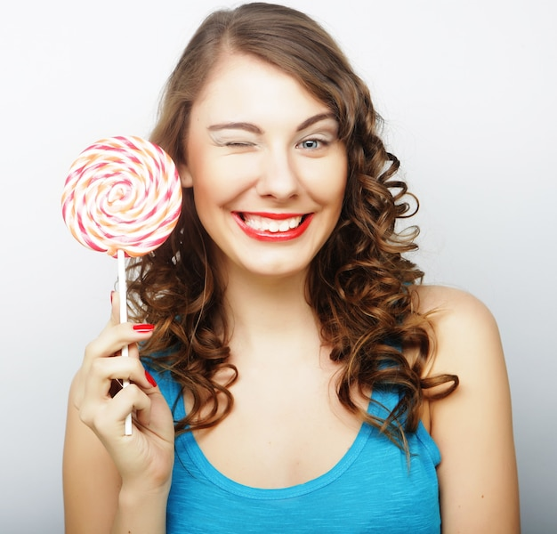 Young sexual woman with  lollipop. lifestyle.