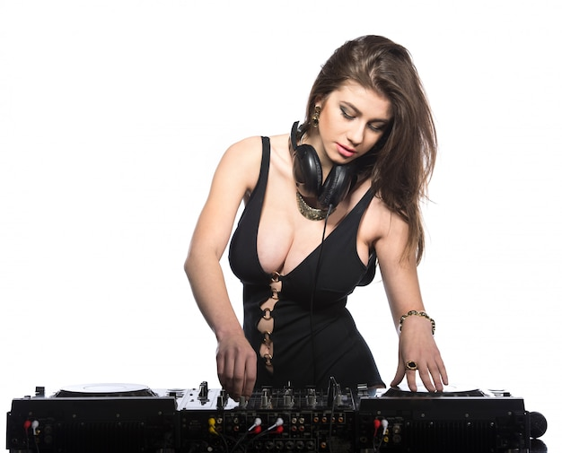 Young sexy dj woman isolated