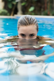 Young sexy woman in water, half face looking eyes from water of pool