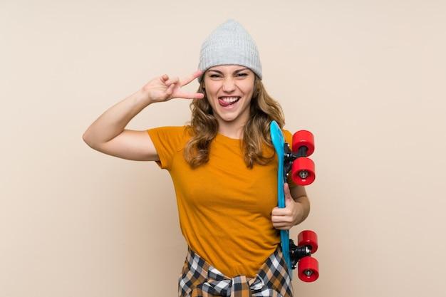 Young skater blonde girl