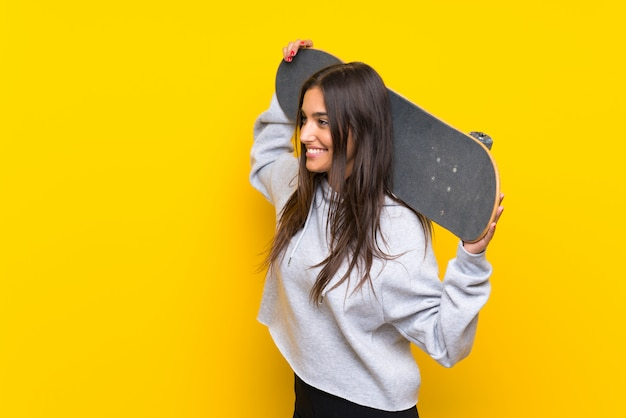 Young skater woman