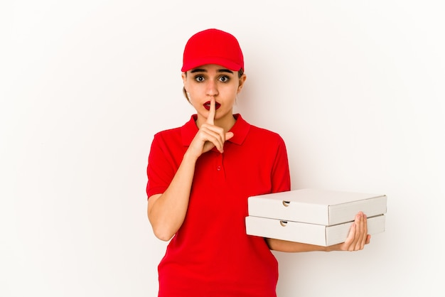 Young skinny arab pizza delivery girl dreaming of achieving goals and purposes