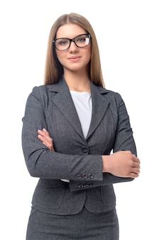 Young smiling businesswoman isolated