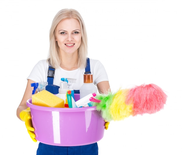 Young smiling cleaner woman on white.