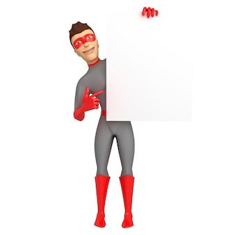 A young smiling guy in a superhero costume is holding in his hand and points with his other hand to an empty sign. 3d illustration