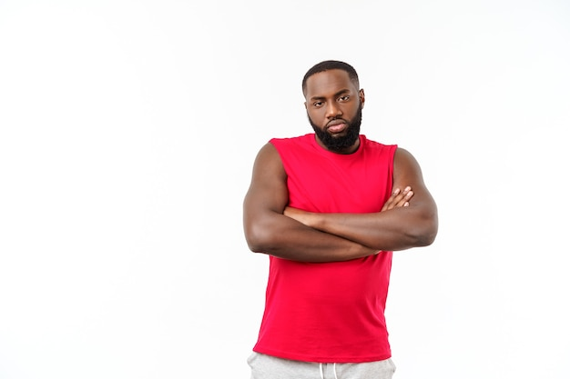 Young sport african american man unhappy and frustrated with something