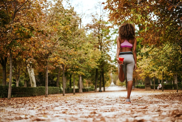 Young sport woman doing exercises during training outside in autumn park.
