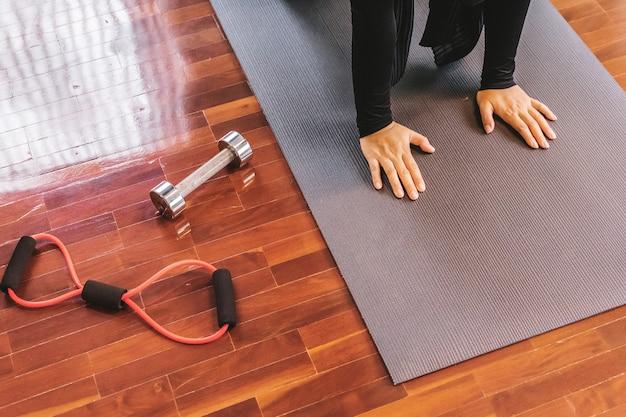 Young sporty yogi yoga woman