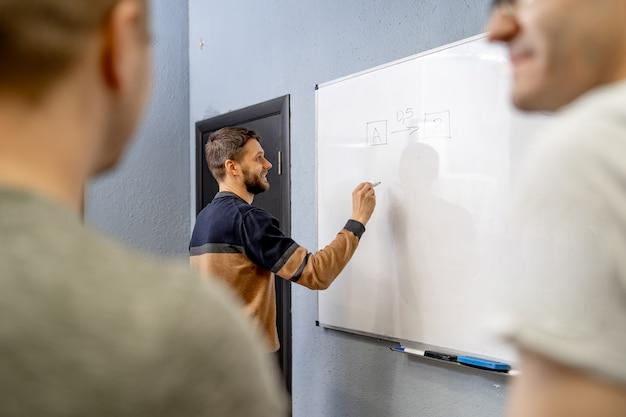 彼らの仕事を計画している若いスタートアップチーム。創造性ワークショップのブレーンストーミングプロセス。
