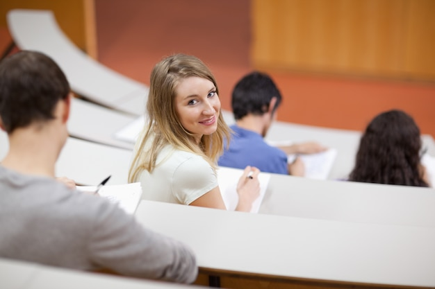 Young student being distracted