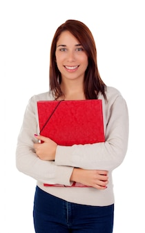 Young student girl with red folder