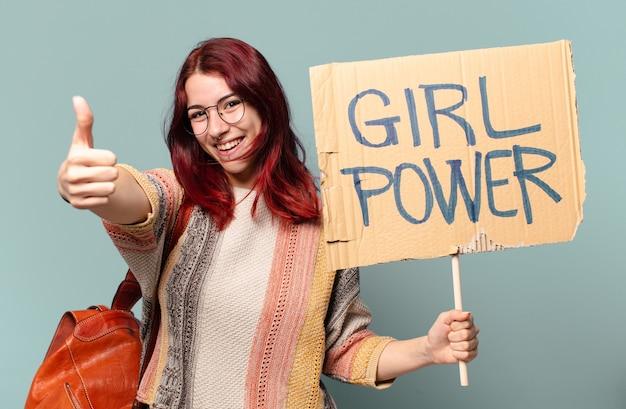 젊은 학생 여자 운동가