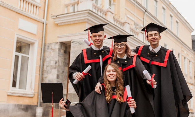 Young students happy to graduate