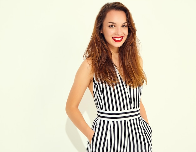 Young stylish smiling woman model in casual summer striped suit with red lips, isolated