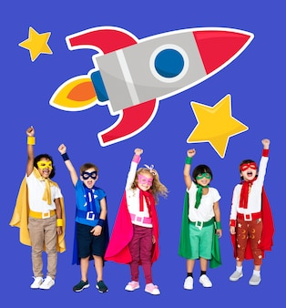 Young superheroes with a rocket icon