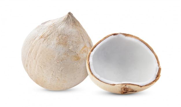白い背景で隔離された若い甘いココナッツ