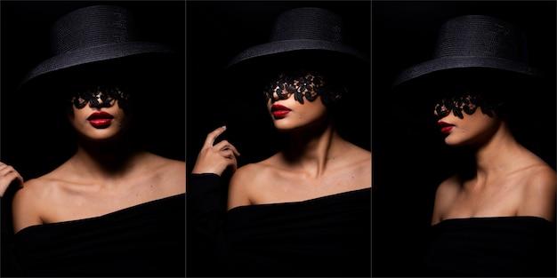 若い日焼けした肌女性は帽子のレースを着て赤い口紅のセクシーな唇で目を覆い、女の子は非常に熱い恋人とスポット照明の黒い背景で神秘的な外観を感じます。コラージュグループの違い感