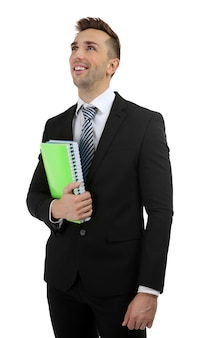 白のノートを持つ若い先生