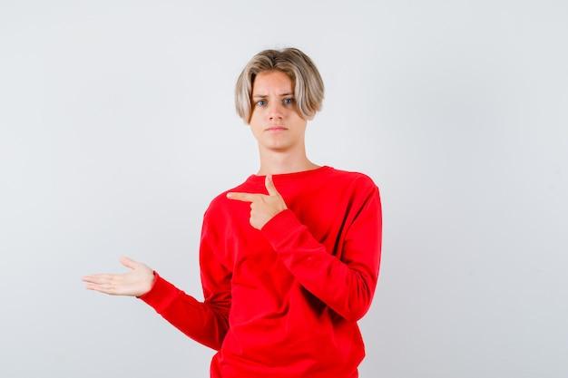 왼쪽을 가리키는 어린 10대 소년, 빨간 스웨터를 입은 손바닥을 옆으로 펼치고 진지한 전면 전망을 보고 있습니다.