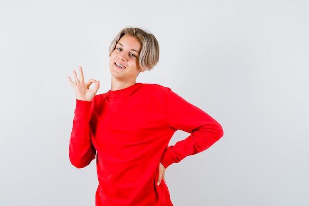 赤いセーターで大丈夫なジェスチャーを示し、嬉しそうに見える若い十代の少年。正面図。