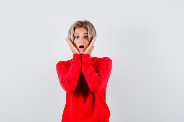 赤いセーターを着て頬に手を当てて、興奮しているように見える若い十代の少年。正面図。