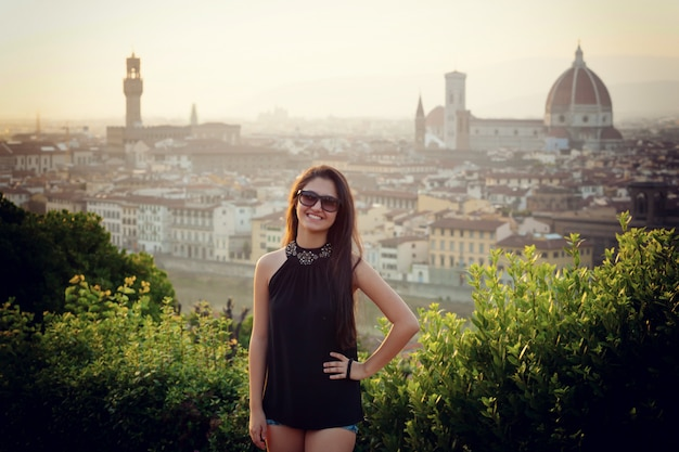 Young teen at sunset in florence