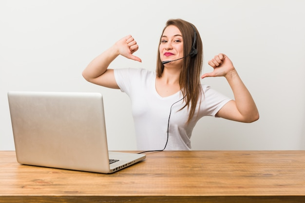 Young telemarketer woman feels proud and self confident, example to follow.