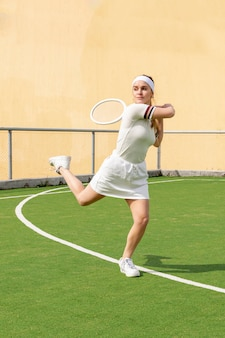 Young tennis athlete playing