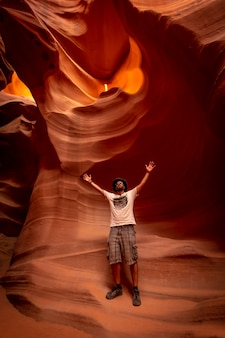 A young tourist visiting lower antelope in arizona. united states