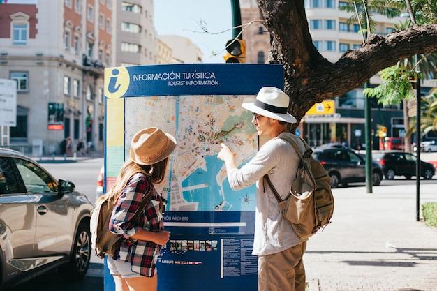 Молодые туристы в большом городе