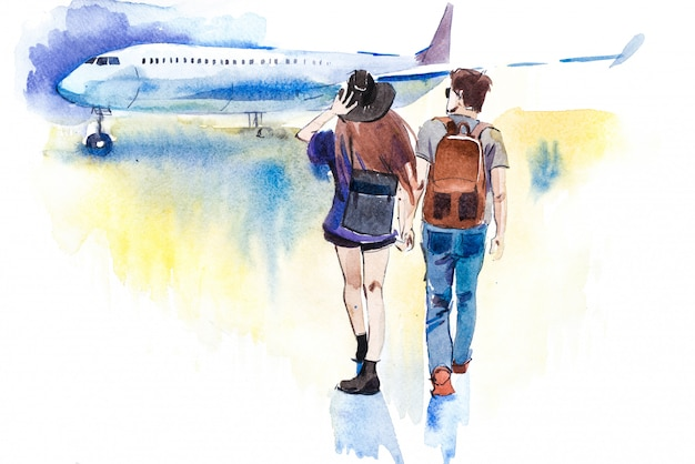 Young travelers couple going to airplane watercolor illustration