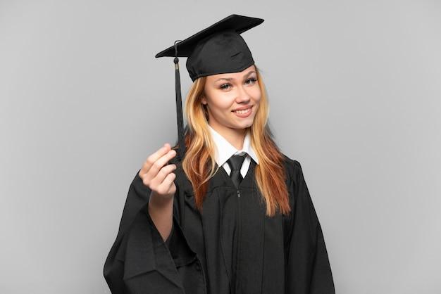 돈 제스처를 만드는 격리 된 배경 위에 젊은 대학 대학원 소녀