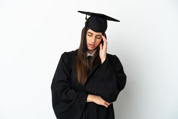 頭痛で白い背景に孤立した若い大学卒業生