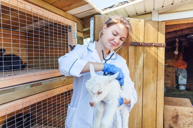 목장 배경에서 염소 아이를 잡고 검사하는 청진기를 가진 젊은 수의사. 자연 생태 농장에서 확인하기 위해 수의사 손에 어린 염소 새끼. 현대 동물 가축, 생태 농업.