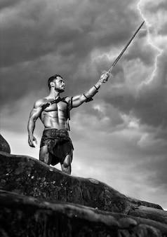 山頂の若い戦士