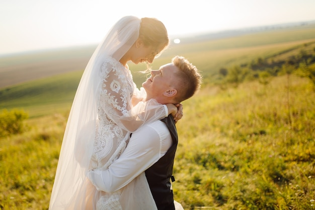 Young wedding couple enjoying romantic moments