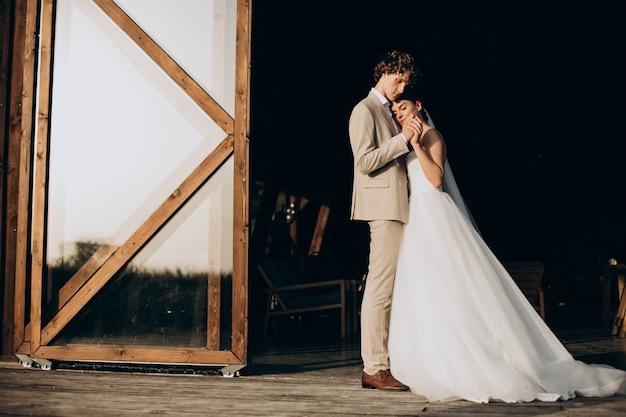 Young wedding couple on their wedding