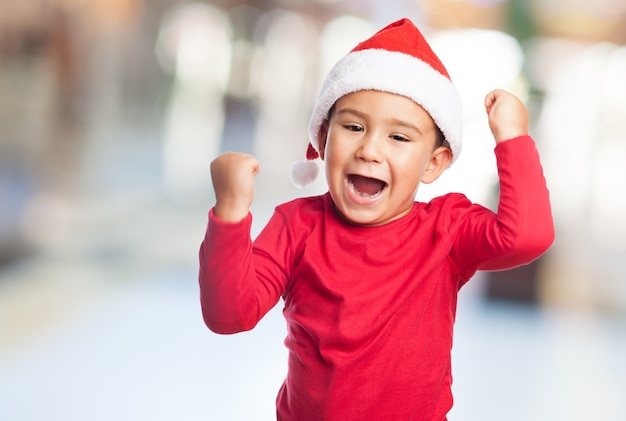 Young winner with santa claus hat