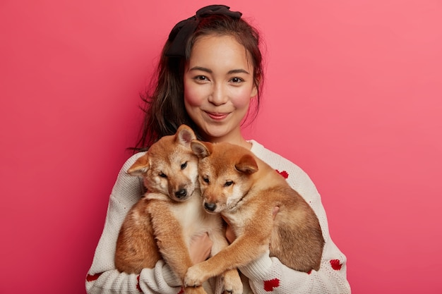 Young woman adores dogs, plays with two little shiba inu puppies, teaches them to perform some actions, has adopted nice animals, going to vet, isolated over pink background.