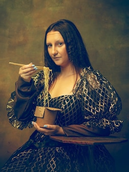 모나리자, 짙은 녹색에 고립 된 la gioconda로 젊은 여자