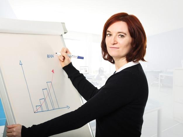 Молодая женщина на работе в современном офисе