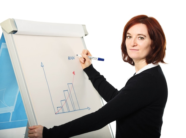 Молодая женщина за работой с доской и улучшение диаграммы