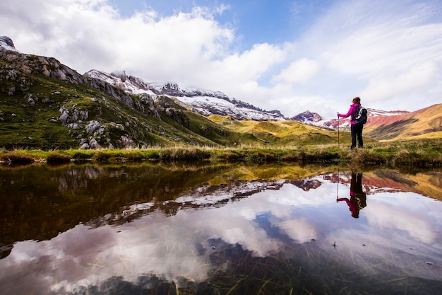 Young woman in autumn in aguas tuertas, valle de echo, spain