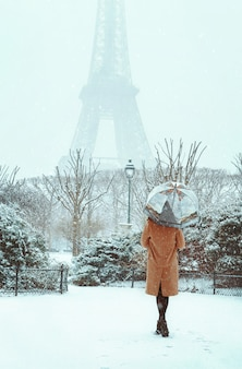 Young woman in a beige coat walks under an umbrella in a snowy winter paris