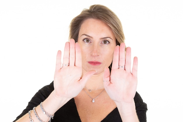 Young woman booth hands stop sign rejection pose