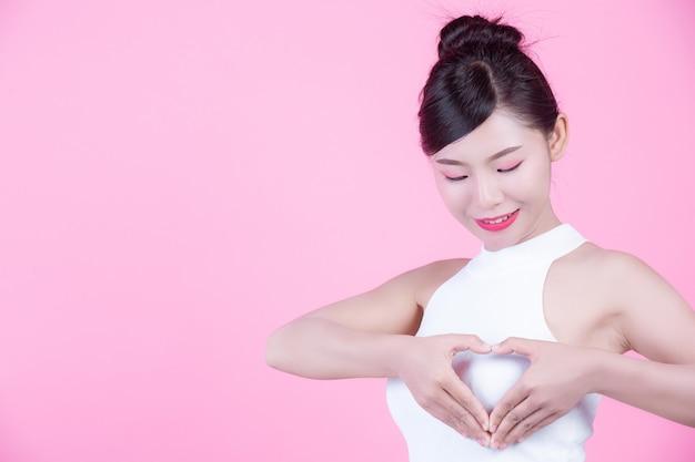 Young woman breast examination.