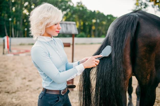 말의 꼬리를 빗질하는 젊은 여자.