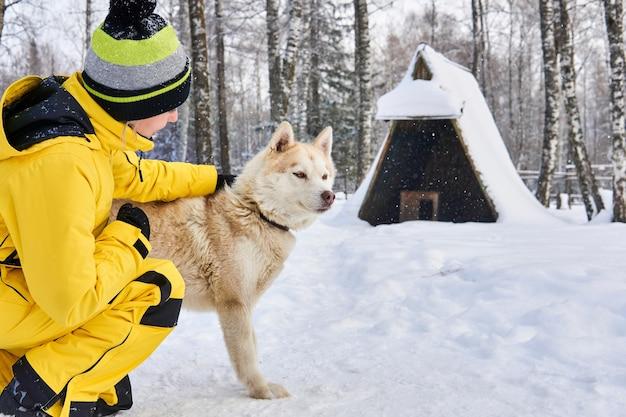 若い女性は冬の森でハスキー犬と通信します