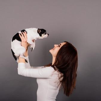 スタジオでチワワの子犬を抱きしめる若い女性、孤立