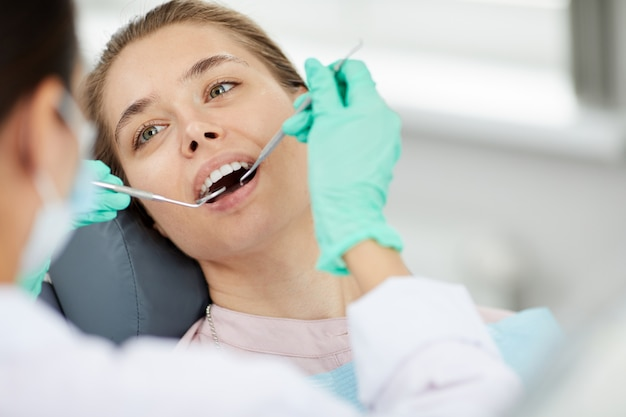 Young woman at dental check up